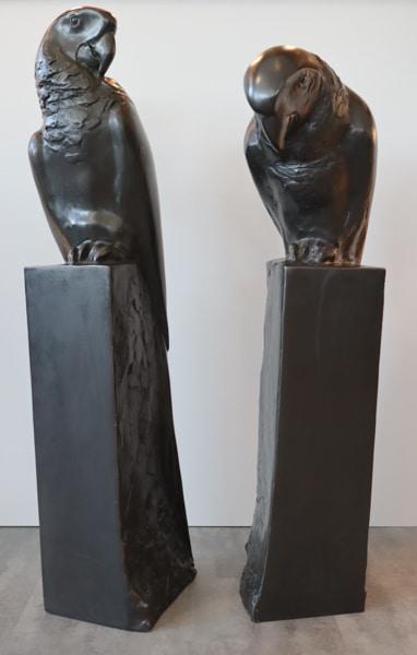 Papageien Paar Bronzeguss